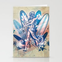 surfboard Stationery Cards featuring poseidon surfer on surfboard by Doomko