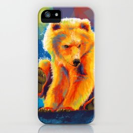 Play with a Bear - Animal digital painting, colorful illustration iPhone Case