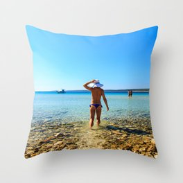 Girl at the sea in Croatia Throw Pillow