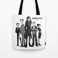 sherlock Tote Bags featuring Sherlock by Anna Rettberg