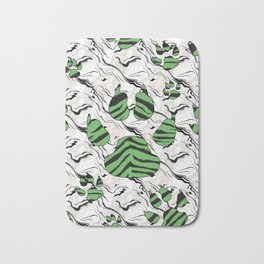 Green Tiger Print Animal Tracks Bath Mat