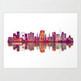 Zurich Switzerland Skyline Art Print