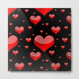 Hearts Red and Black Metal Print