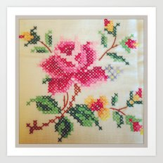 vintage embroidery Art Print