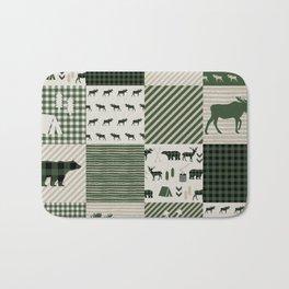 Camping hunter green plaid quilt cheater quilt baby nursery cute pattern bear moose cabin life Bath Mat