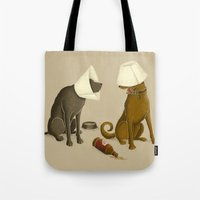 drunk Tote Bags featuring Drunk Dog by Jonah Makes Artstuff