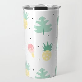 summer pattern background illustration with exotic leaves, pineapples and ice cream Travel Mug