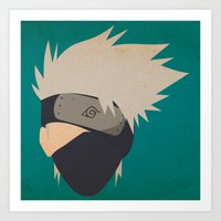 kakashi Art Prints featuring Kakashi Hatake Simplistic face by JamiePowellPrints