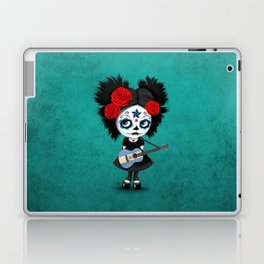 Day of the Dead Girl Playing Nicaraguan Flag Guitar Laptop & iPad Skin