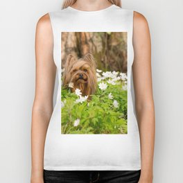 Summer Vibes - Small Yorkie Dog In Spring Forest #decor #society6 #buyart Biker Tank