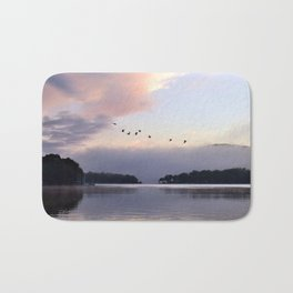 Uplifting II: Geese Rise at Dawn on Lake George Bath Mat