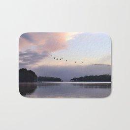 Uplifting II: Geese Rise at Dawn on Lake George Bath Mat