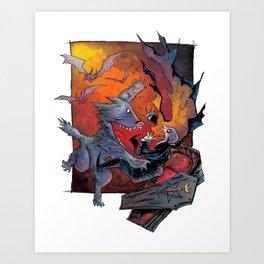 Werewolf vs Vampire Art Print