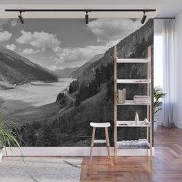 Gepatsch Reservoir Kaunertal Glacier Austria Alps Landscape black white Wall Mural