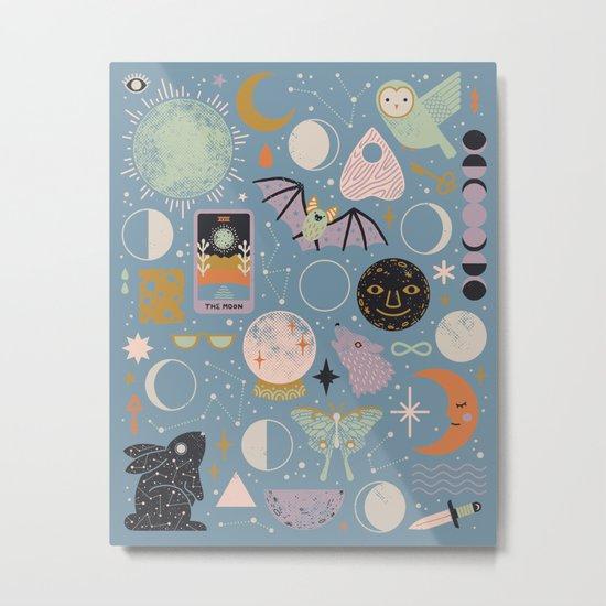 Lunar Pattern: Blue Moon Metal Print