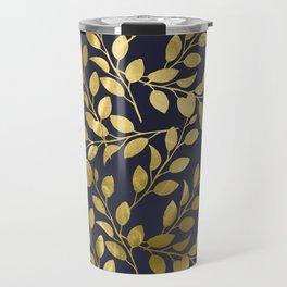Gold Leaves on Navy Travel Mug