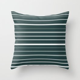 Teal and White Variable Stripes Throw Pillow