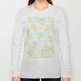 Watercolor hand painted pastel blue yellow floral pattern Long Sleeve T-shirt
