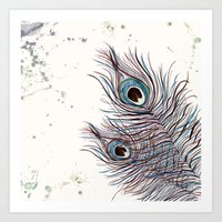 peacock Art Prints featuring PEACOCK by Monika Strigel