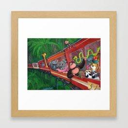 Jungle Train full of Animals Framed Art Print