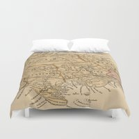 jamaica Duvet Covers featuring Vintage Map of Jamaica (1893) by BravuraMedia
