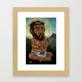 Baby Jesus Having A Smoke Break Framed Art Print