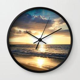 Poolenalena Beach Sunset Makena Maui Hawaii Wall Clock