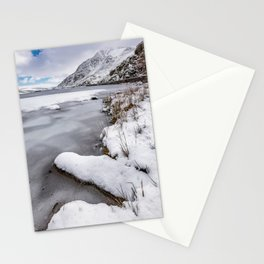 Snowfall at Ogwen Lake Snowdonia Stationery Cards