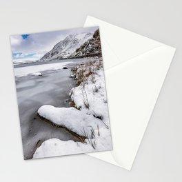 Snowfall at Ogwen Lake Snowdonia Stationery Cards