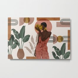 Woman with succulent bananas Metal Print