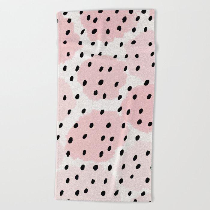 Pink Dots Pattern Beach Towel