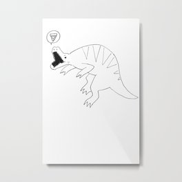 dinosaur love pizza Metal Print