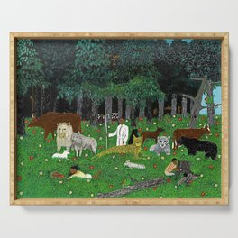African American Masterpiece 'Holy Mountain III' by Horace Pippin Serving Tray