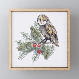 Pine forest owls Framed Mini Art Print