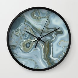 Precious Teal Blue Gemstone Agate Collage Wall Clock