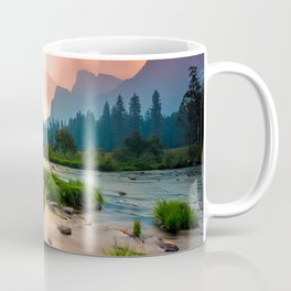 Photos Yosemite California USA Nature mountain park Forests sunrise and sunset landscape photography stone Grass Rivers Mountains Parks forest Scenery Sunrises and sunsets river Stones Coffee Mug