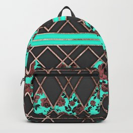 Modern Elegant Rose Gold Triangles and Teal Roses Backpack