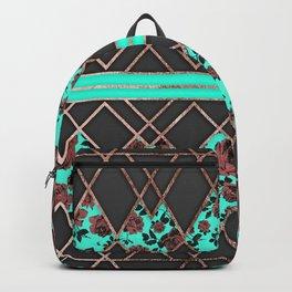 Modern Elegant Rose Gold Triangles and Teal Roses Backpack