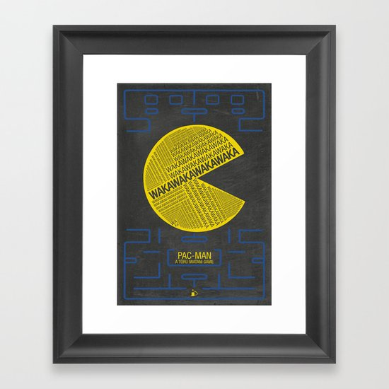 Pac-Man Typography Framed Art Print