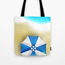 Couple of umbrellas on the beach, graphic art Tote Bag