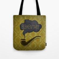 sherlock Tote Bags featuring sherlock by serbangabriel