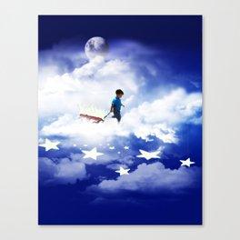 Star Boy Pulling Little Red Wagon Canvas Print