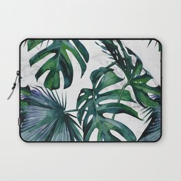 Tropical Palm Leaves Classic on Marble Laptop Sleeve