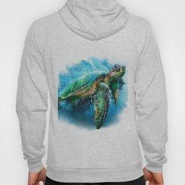 Abstract Watercolor Sea Turtle on White 3 Minimalist Coastal Art - Coast - Sea - Beach - Shore Hoody