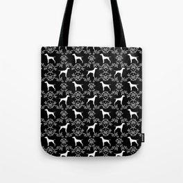 Vizsla dog breed minimal pattern floral black and white pastel dog gifts vizlas breed Tote Bag