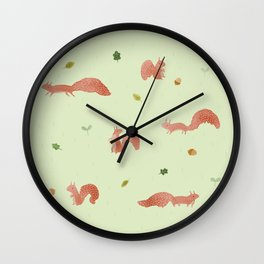 Red Squirrels Wall Clock