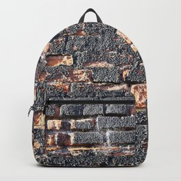 black orange urban worn damaged brick wall photo texture Backpack