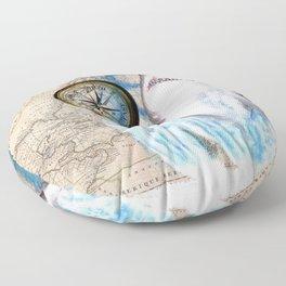 Great White Shark Compass Vintage Map Floor Pillow
