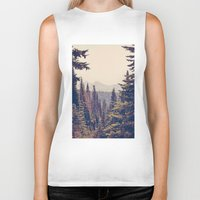 mountains Biker Tanks featuring Mountains through the Trees by Kurt Rahn