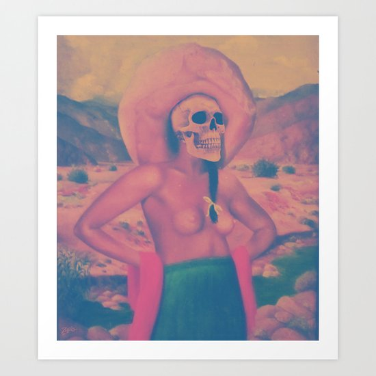Mujer con sombrero. Art Print